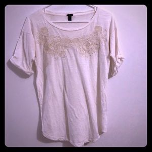 White Short Sleeve Shirt with Flower Detail